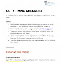copy timing checklist
