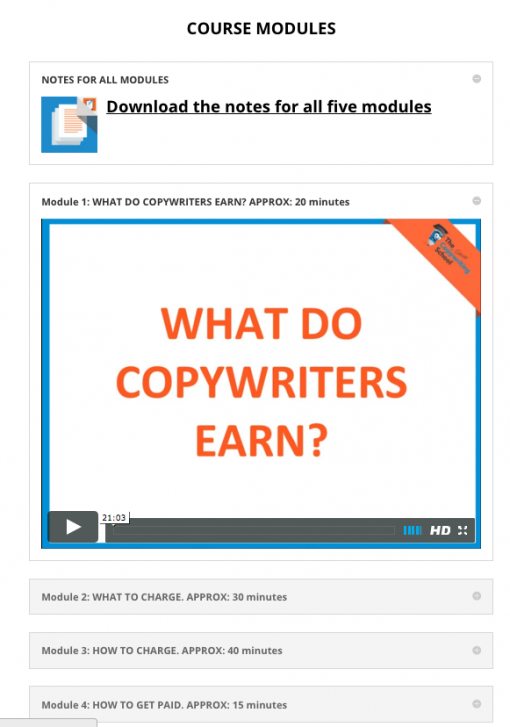 Pricing course for copywriters